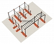 Cascade of horizontal bars with monkey bars and climbing ladder