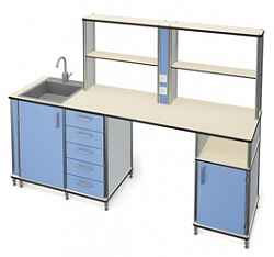 DESK WITH INTEGRATED SINK AND OPEN SHELVES