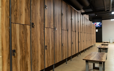 Two compartment MDF Lockers with HPL facades