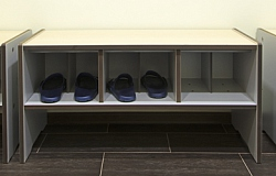 REINFORCED BENCH WITH SHOE CUBBIES